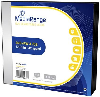 DVD+RW MEDIARANGE 4.7GB 4X SPEED SLIMCASE PACK 5 5 Stuk