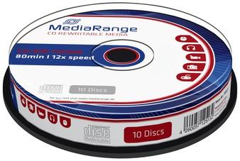 CD-RW MEDIARANGE 700MB 80MIN 12X SPEED CAKE 10 10 Stuk