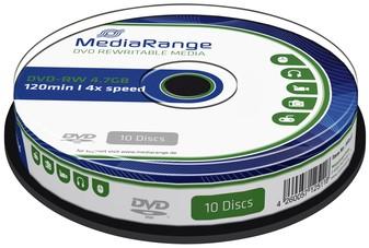 DVD-RW MEDIARANGE 4.7GB 120MIN 4X SPEED CAKE 10 10 Stuk