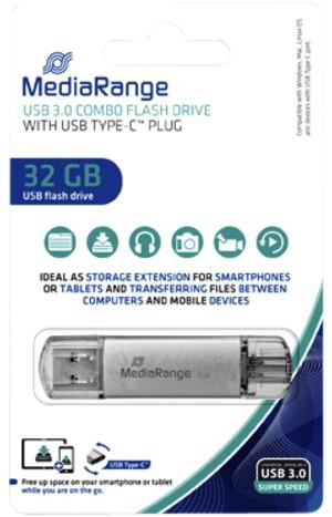 USB-STICK MEDIARANGE 2 IN 1 USB-C 3.1 32GB 1 Stuk