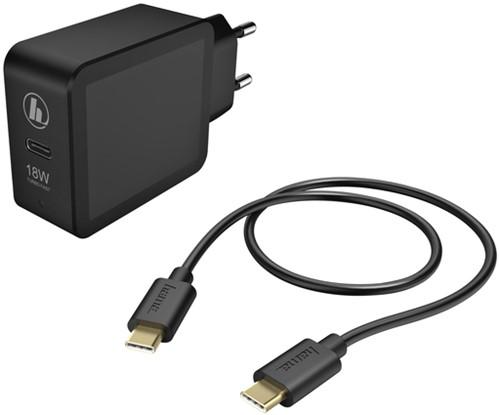 OPLADER HAMA USB-C 18W 1.5 METER ZWART 1 Stuk