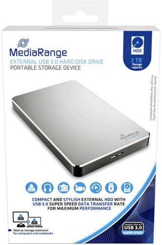 HARDDISK MEDIARANGE 3.0 HDD 2TB ZILVER 1 Stuk