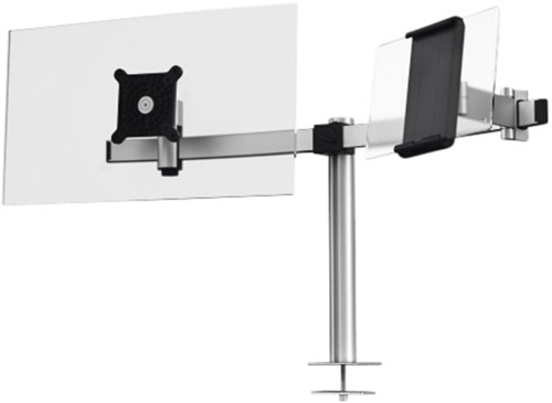 MONITORARM DURABLE DUBBEL SCHERM/TABLET MET BLADDOORVOER 1 Stuk