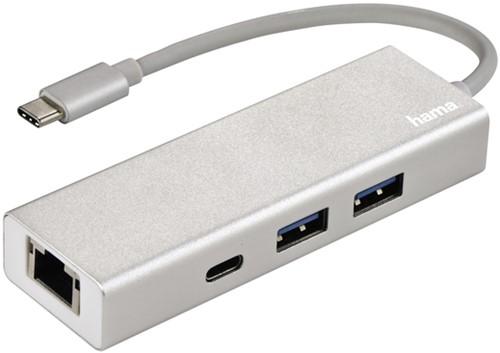 HUB HAMA USB-C 3.1 1:3 2 X USB-A 2 X USB-C LAN 1 Stuk