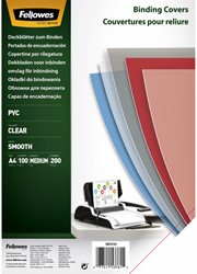 VOORBLAD FELLOWES A4 PVC 200MICRON TRANSPARANT 100 STUK
