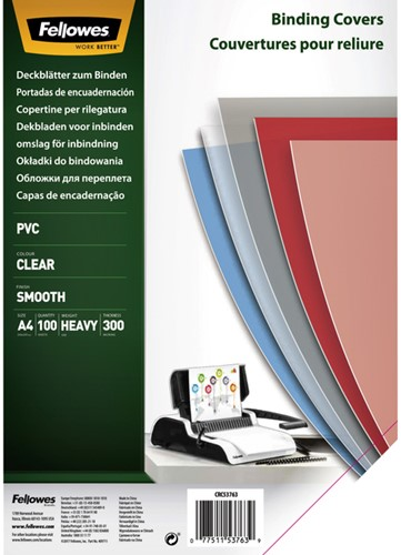 VOORBLAD FELLOWES A4 PVC 300MICRON TRANSPARANT 100 STUK