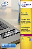ETIKET AVERY L6008-20 25.4X10MM 3780ST ZILVER 20 VEL-3