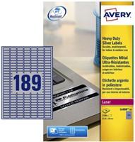 ETIKET AVERY L6008-20 25.4X10MM 3780ST ZILVER 20 VEL