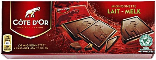 CHOCOLADE COTE D'OR 10GR MIGNONNETTE MELK 24 Stuk