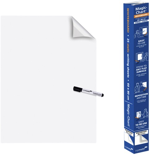 MAGIC-CHART LEGAMASTER WHITEBOARD 60X80CM WIT 25 VEL
