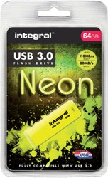 USB-STICK INTEGRAL 64GB 3.0 NEON GEEL 1 STUK