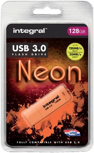 USB-STICK INTEGRAL 128GB 3.0 NEON ORANJE 1 Stuk