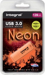 USB-STICK INTEGRAL 128GB 3.0 NEON ORANJE 1 STUK