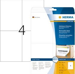 ETIKET HERMA 5082 MOVABLE 105X148MM A4 100ST WIT 25 VEL