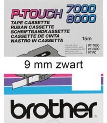 LABELTAPE BROTHER TX-221 9MMX8M WIT/ZWART 1 STUK
