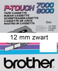 LABELTAPE BROTHER TX-231 12MMX8M WIT/ZWART 1 STUK