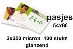 LAMINEERHOES GBC CREDITCARD 54X86MM 2X250MICRON 100 STUK