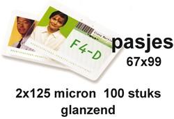 LAMINEERHOES GBC BADGE CARD 67X99MM 2X125MICRON 100 STUK
