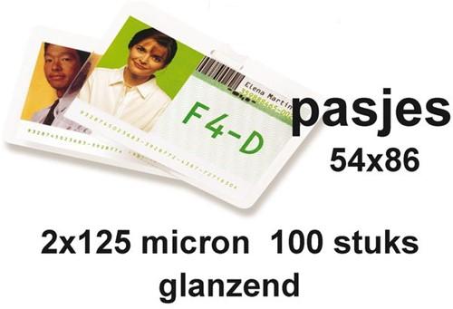 LAMINEERHOES GBC CREDITCARD 54X86MM 2X125MICRON 100 STUK