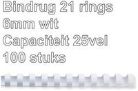 BINDRUG GBC 6MM 21RINGS A4 WIT 100 STUK