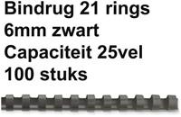 BINDRUG FELLOWES 6MM 21RINGS A4 ZWART 100 STUK