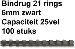 BINDRUG FELLOWES 6MM 21RINGS A4 ZWART 100 STUK