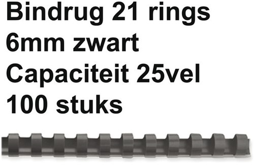 BINDRUG GBC 6MM 21RINGS A4 ZWART 100 STUK