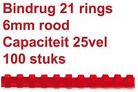 BINDRUG GBC 6MM 21RINGS A4 ROOD 100 STUK