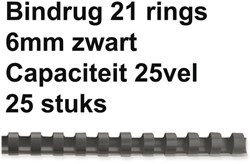 BINDRUG FELLOWES 6MM 21RINGS A4 ZWART 25 STUK