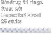 BINDRUG GBC 6MM 21RINGS A4 WIT 25 STUK