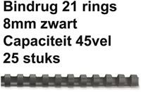 BINDRUG FELLOWES 8MM 21RINGS A4 ZWART 25 STUK