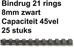 BINDRUG GBC 8MM 21RINGS A4 ZWART 25 STUK