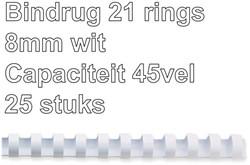 BINDRUG GBC 8MM 21RINGS A4 WIT 25 STUK
