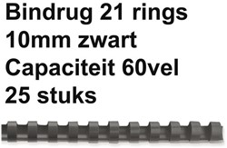 BINDRUG GBC 10MM 21RINGS A4 ZWART 25 STUK