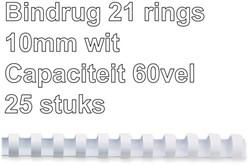 BINDRUG FELLOWES 10MM 21RINGS A4 WIT 25 STUK