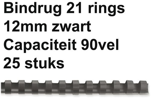 BINDRUG FELLOWES 12MM 21RINGS A4 ZWART 25 STUK