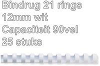 BINDRUG FELLOWES 12MM 21RINGS A4 WIT 25 STUK