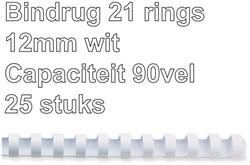 BINDRUG GBC 12MM 21RINGS A4 WIT 25 STUK
