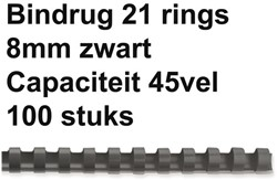 BINDRUG GBC 8MM 21RINGS A4 ZWART 100 STUK