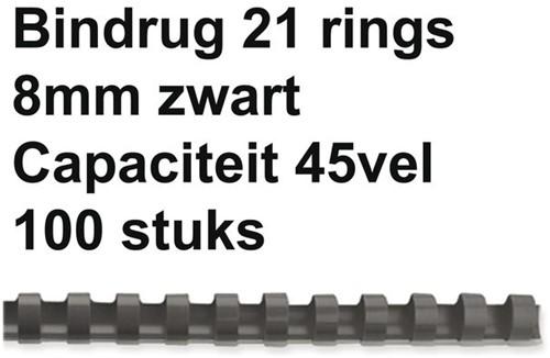BINDRUG FELLOWES 8MM 21RINGS A4 ZWART 100 STUK