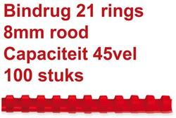 BINDRUG FELLOWES 8MM 21RINGS A4 ROOD 100 STUK