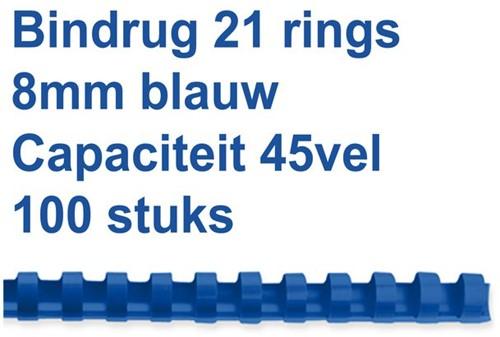 BINDRUG GBC 8MM 21RINGS A4 BLAUW 100 STUK