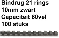 BINDRUG GBC 10MM 21RINGS A4 ZWART 100 STUK