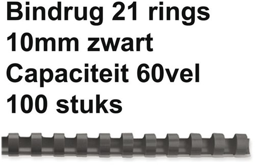 BINDRUG FELLOWES 10MM 21RINGS A4 ZWART 100 STUK