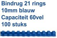 BINDRUG GBC 10MM 21RINGS A4 BLAUW 100 STUK