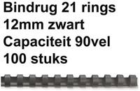 BINDRUG FELLOWES 12MM 21RINGS A4 ZWART 100 STUK