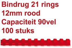 BINDRUG FELLOWES 12MM 21RINGS A4 ROOD 100 STUK