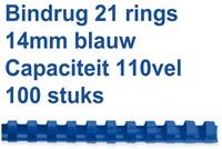 BINDRUG GBC 14MM 21RINGS A4 BLAUW 100 STUK