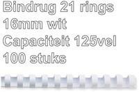 BINDRUG FELLOWES 16MM 21RINGS A4 WIT 100 STUK