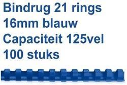 BINDRUG FELLOWES 16MM 21RINGS A4 BLAUW 100 STUK